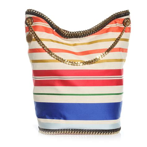 Stella Mccartney Cotton Handbag by Stella Mccartney Cotton Canvas Stripes Falabella