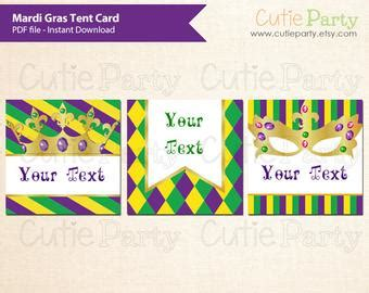 Mardi Gras Table Place Card Free Template by Mardi Gras Etsy