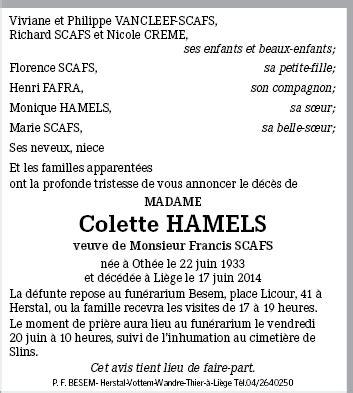 Colette By Richelle colette scafs de richelle annonce de d 233 c 232 s sur enmemoire be en m 233 moire