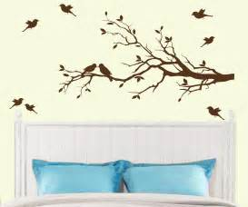 Tree Branch Wall Sticker tree branch with 10 birds wall decal deco art sticker mural in dark