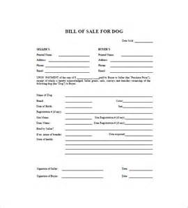 dog bill of sale 8 free sample example format