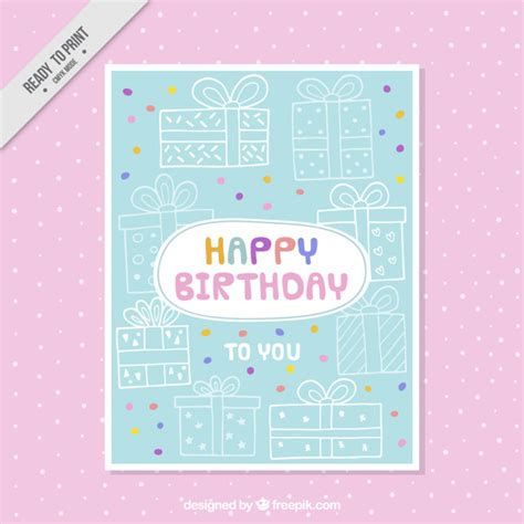 Birthday Card Sketches Sketches Gifts Birthday Card Vector Free Download