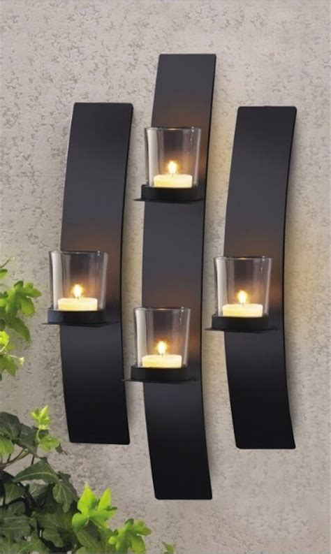 Modern Candle Wall Sconces by Set 3 Modern Black Metal Wall Mount Tea Light Candle