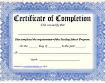 printable sunday program certificate of completion