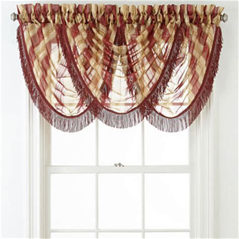 lisette curtains liz claiborne 174 lisette stripe rod pocket waterfall valance