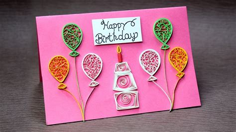 How To Make A Birthday Card With Photo Diy Birthday Card For Beginners Very Easy Quilling