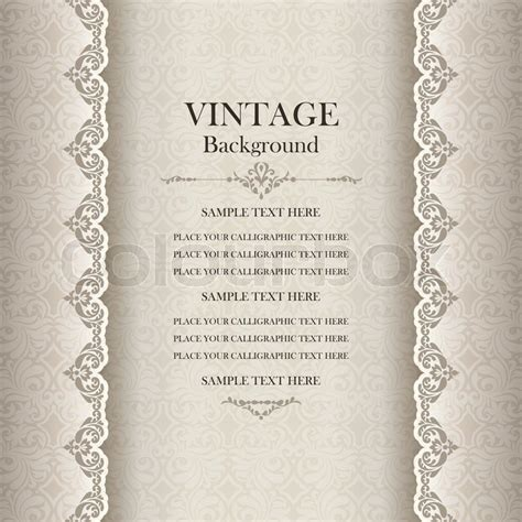 Classic Home Decoration by Vintage Background Antique Greeting Card Invitation With