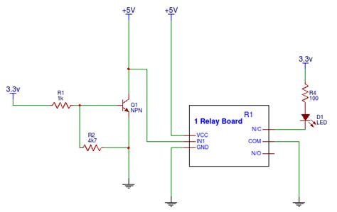 npn transistor to relay 5v relay through 3 3v gpio using npn transistor electrical engineering stack exchange