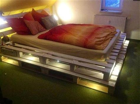 wood pallet bed frame with lights diy 20 pallet bed frame ideas 99 pallets