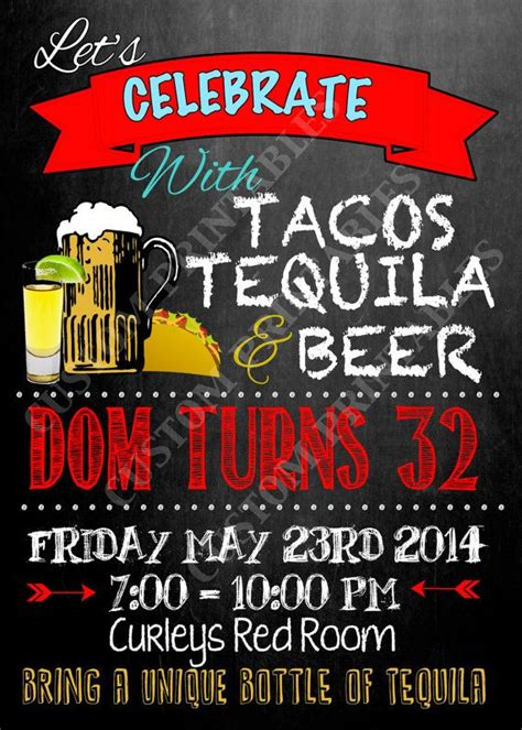 birthday tequila tacos tequila beer birthday party invite tequila party
