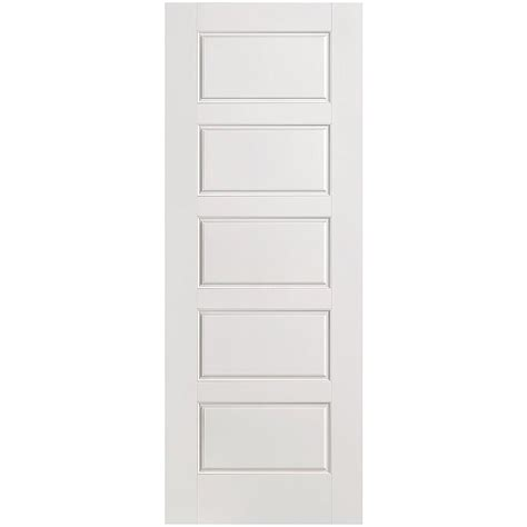 Masonite 24 In X 80 In Riverside Smooth 5 Panel Equal Masonite Prehung Interior Doors