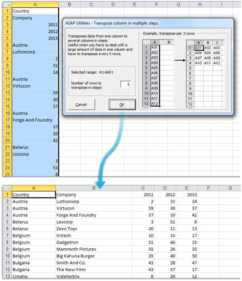 format excel column asap utilities for excel format 187 transpose column in