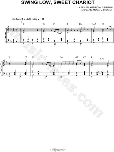 swing low sweet chariot chords piano african american spiritual quot swing low sweet chariot