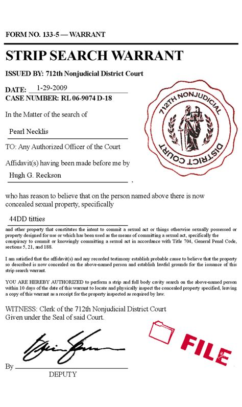 Search A Court Search Warrant Court Form Prank Forgery
