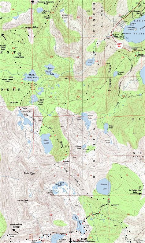 desolation wilderness map topo map phipps pass to lake hiking desolation wilderness