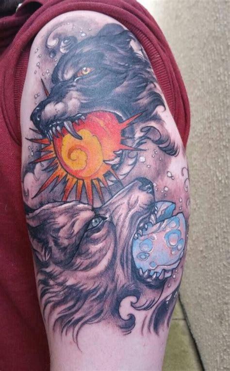 sunderland tattoo designs hati and skoll by tom strom triplesix studio sunderland