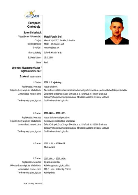 english resume example pdf europass oeneletrajz
