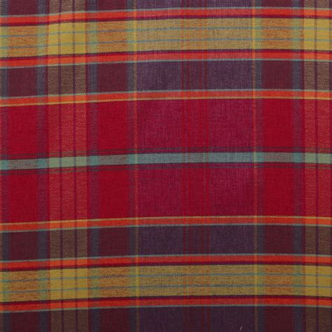 tartan curtain fabric uk designer discount linen look tartan check plaid curtain