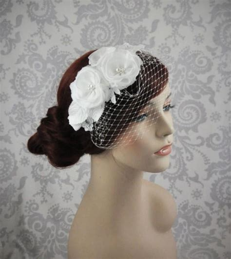 Handmade Birdcage Veil - birdcage veil handmade silk flowers and lace bird cage