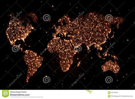 lights to world map in the with lights stock illustration