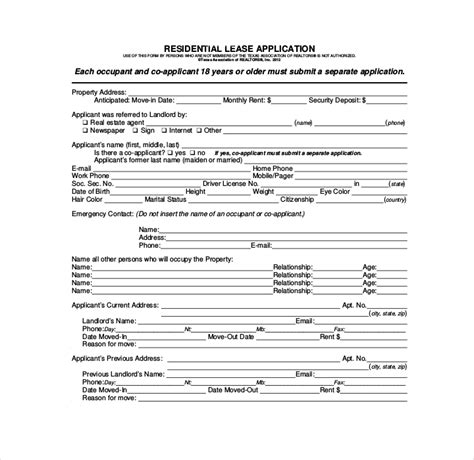27 Lease Application Form Templates Free Pdf Word Excel Format Download Free Premium Blank Rental Application Template