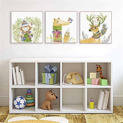 Cottage By Kawai aliexpress buy watercolor modern cottage kawaii animals deer fox canvas print poster