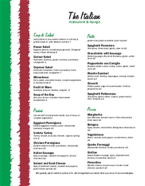 italian restaurant menu templates italian food menu letter italian menus