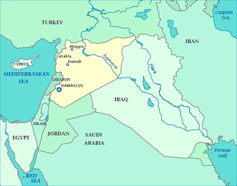 map of syria and surrounding countries map of syria and surrounding countries