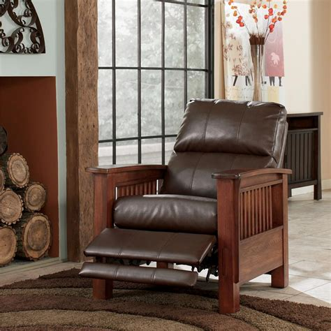 ashley mission recliner ashley signature design santa fe 1990026 high leg recliner with mission style arms dunk