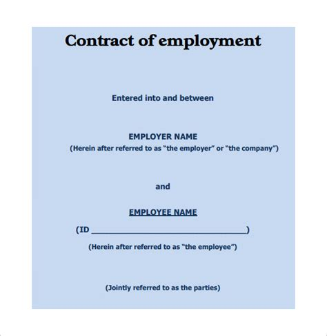 10 Job Contract Templates To Download For Free Sle Templates Basic Employment Contract Template