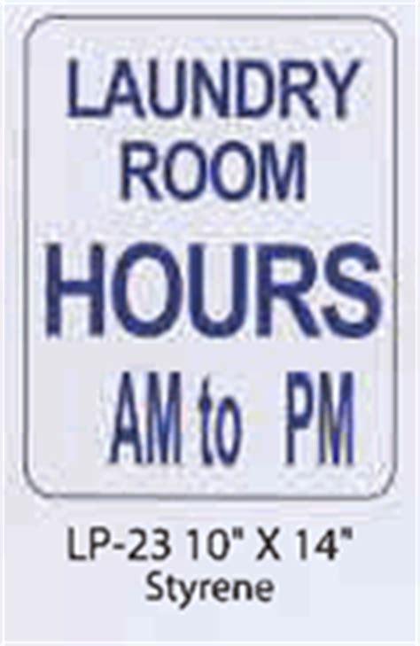 laundry room hours styrene sign
