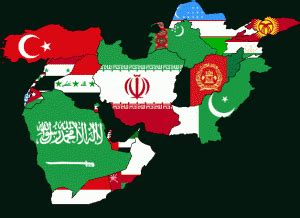 middle east map flag middle east in