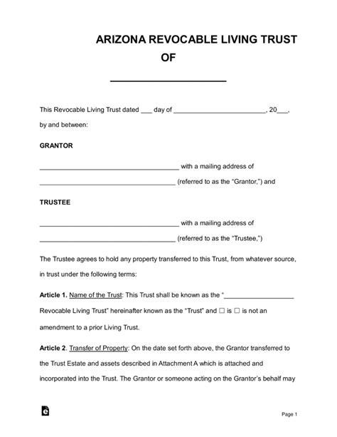 Free Arizona Revocable Living Trust Form Word Pdf Eforms Free Fillable Forms Living Will Template Arizona