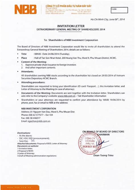 Invitation Letter For General Meeting Nbb Investment Corporation