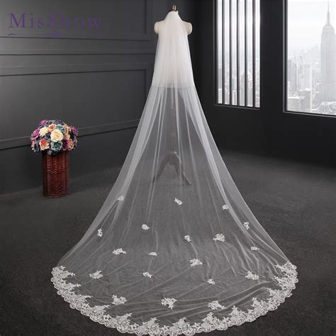design wedding veil  meters long applique lace