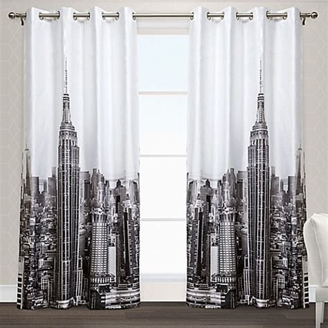 black and white grommet curtains manhattan grommet top window curtain panel pair in black