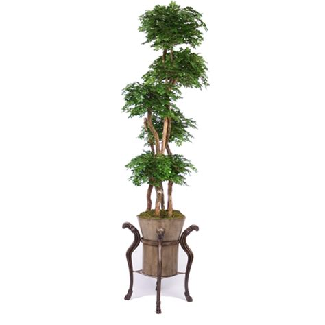 steins artificial trees 8 podocarpus layered tree in tobacco finish rams plant stand with taupe container free