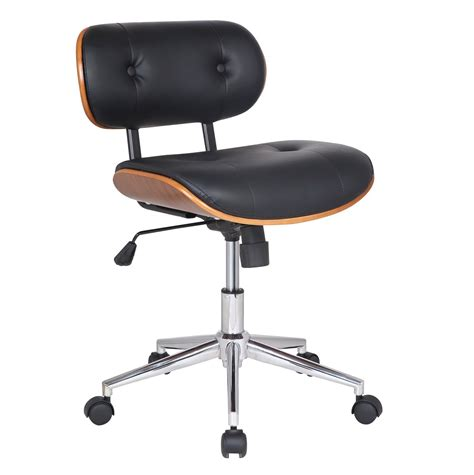 Cushions For Office Desk Chairs Adeco Bentwood Walnut Color Home Office Chair Leatherette Cushion Seat With Back Ch0159