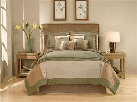 green bed in a bag modern green brown micro suede block queen king 8pc