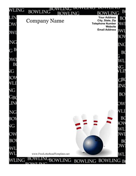 Bowling Birthday Card Template by Bowling Letterhead