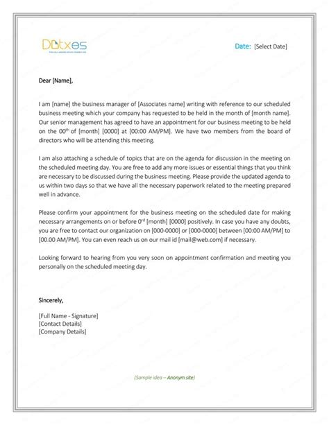 meeting appointment letter sample lettering