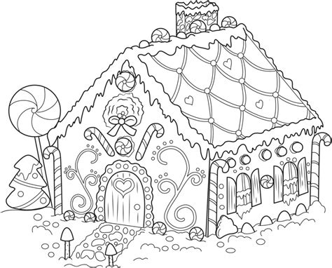 Coloring Page Gingerbread House | free printable snowflake coloring pages for kids