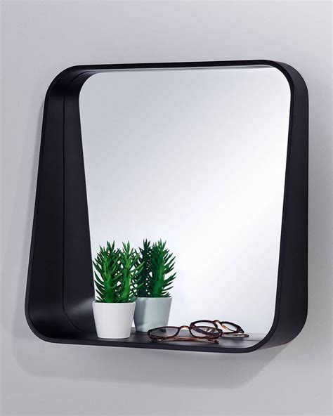 mirrordeco rack wall mirror with shelf black square