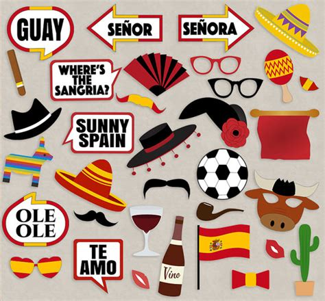 themes in espanol spanish party props diy photo booth printables for spain