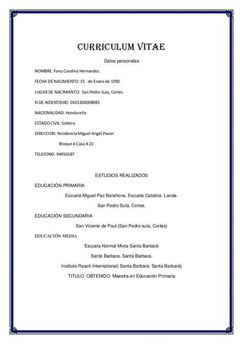 Modelo De Curriculum Vitae Honduras Curriculum Vitae