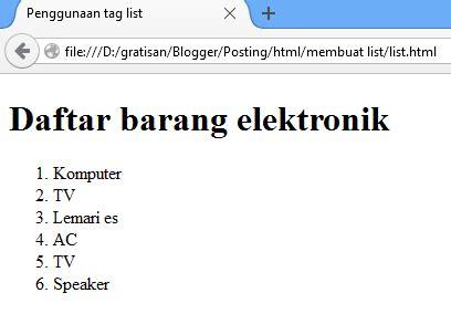 membuat ul html cara membuat list daftar di html tag ol ul dan li