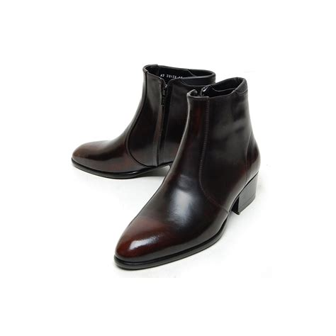 s plain toe brown leather side zip high heels anke boots