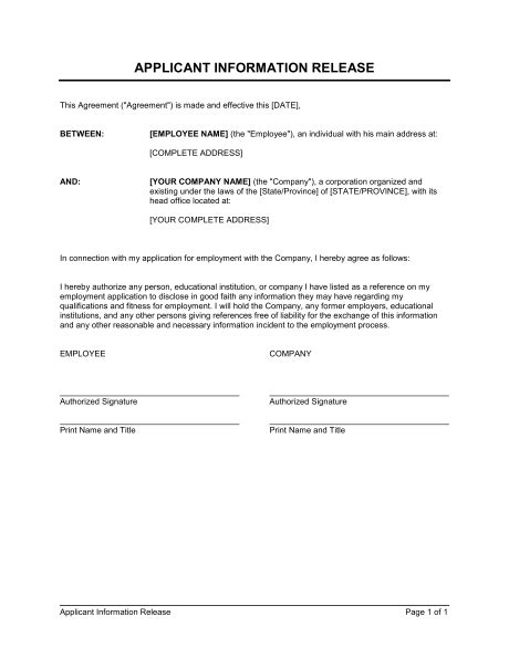 Information Release Authorization Template Sle Form Biztree Com Consent To Release Information Template