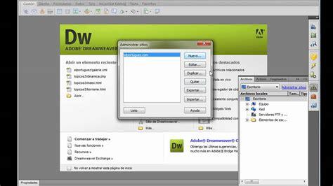 tutorial pagina web en dreamweaver configuracion de un sitio web en dreamweaver cs4 youtube