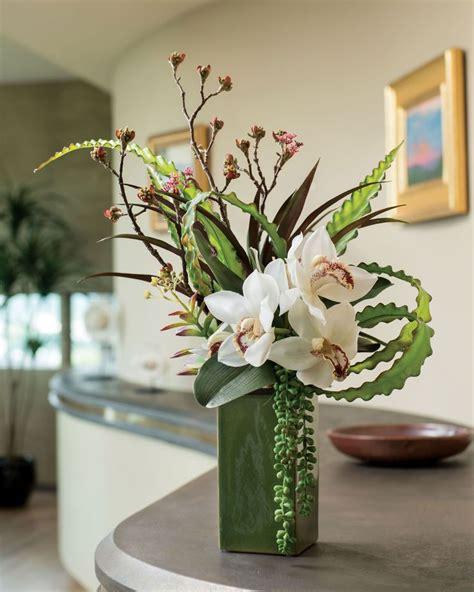 cymbidium silk orchid aloe budded branch arrangement at